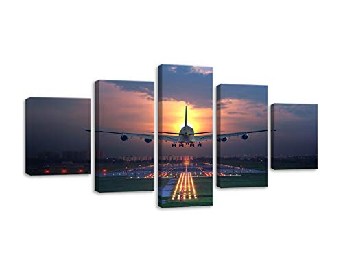 Sunset Airplane Lawn Airport Poster Canvas Art Painting Wall Airplane Pictures Canvas HD Printed 5 Pieces Vintage Airplane Wall Art for Living Room Bedroom Bathroom Stretched and Framed Ready to Hang ()