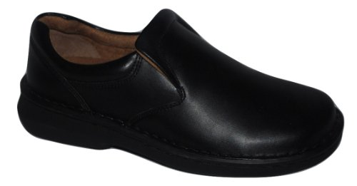 Anywear Mens Black Leather Slip On Loafer 7.5 (Jamie Black Leather)