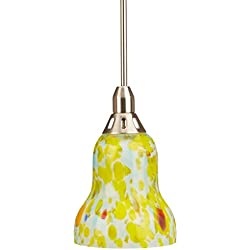 Lite Source LS-14091YLW Carlota Pendant Lamp with Yellow Glass Shade, Polished Steel Finish
