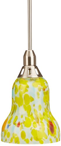 Hilite Glass Pendant - Lite Source LS-14091YLW Carlota Pendant Lamp with Yellow Glass Shade, Polished Steel Finish