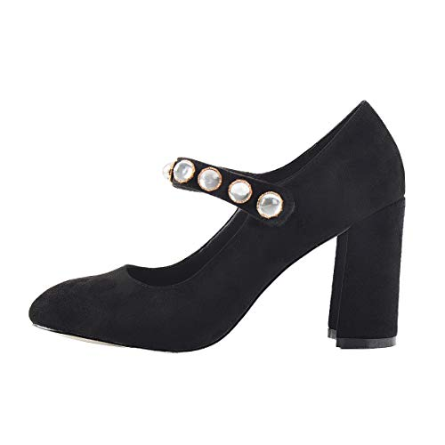 Womens Mary-Jane Pearl Studded Dress Pumps, Round Closed -