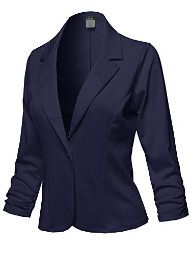 Casual Solid One Button Classic Blazer Jacket - Made in USA Navy XL (Womens Navy Blue Blazer With Gold Buttons)