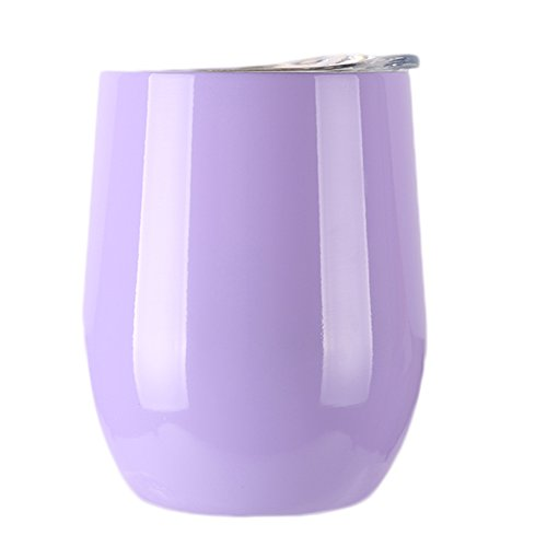 Stainless Steel Wine Glasses, 9 OZ Vacuum Break Resistant Outdoor Drinkware - Type Heat Preservation Cup Great Tumbler for Red Wine, Cocktail and Nonalcoholic Beverages (Lavender)