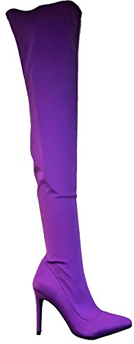 Wild Diva Akira-203 Pointed Toe Thigh High Pull On Lycra Stretch Elastic Boot Purple (Wild Diva Women Boots)