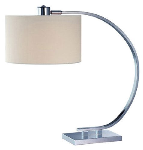 Lite Source LS-21652 Table Lamp, Chrome with White Fabric Shade