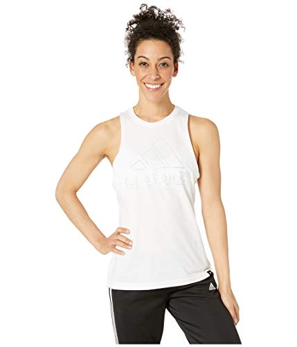 (adidas Women's Badge of Sport Iridescent Muscle Tank Top White Large)
