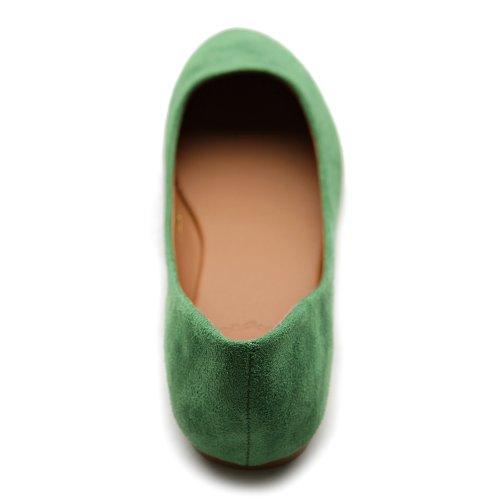 Ollio Frauen Schuh Ballett Licht Faux Wildleder Low Heels Flat Grün