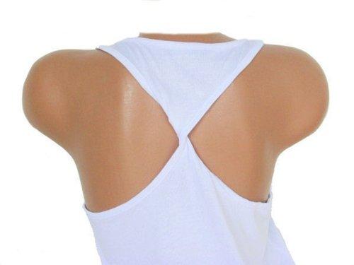Damen Top mit Rückenknoten, 100 % Viskose, weiss, weiß, AM 771446