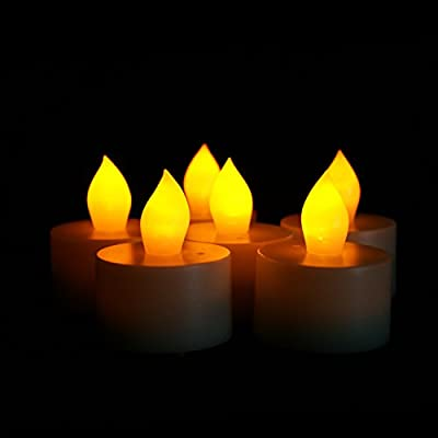Candle Choice Set of 6 Flameless Tealights/Tea Lights with Timer, 400-hour Battery Life