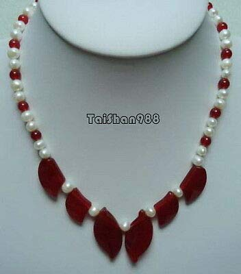 - FidgetKute Genuine White Pearl Red Jade Leaf Pendant 18KWGP Clasp Necklace