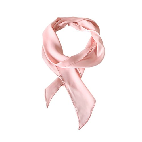 (GERINLY Pink Neckerchief Plain Skinny Neck Scarf for 50s Costume Headband Long Narrow Purse Scarf (Pink))