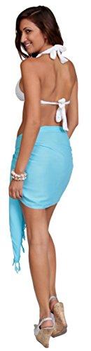 Unicolor Mitad Light para sin 1 mujeres Sarongs sarong Turquoise flecos World xwgHR