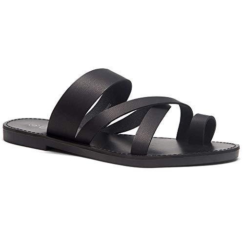 - Herstyle Donnoddi Women's Slip On Flip Flops Gladiator Shoes Open Toe Loop Flat Sandals Black 10.0