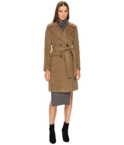 Diane von Furstenberg Women's Double Breasted Tie Waist Wool Coat British Khaki 4