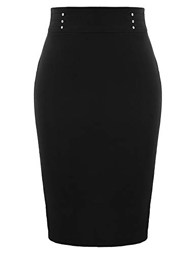 GRACE KARIN Womens Elastic Waist Stretch Bodycon Business Pencil Skirt Black XL ()