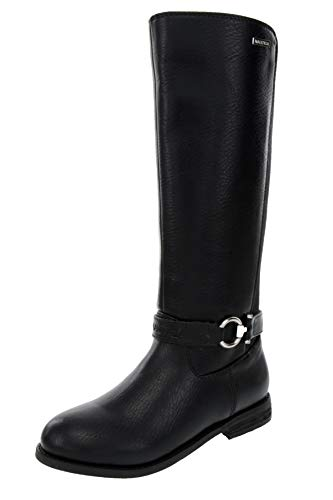 Nautica Girls Youth Knee High Fashion Riding Boots-Feven-Black-3