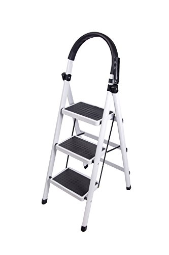 Gimify 3 Step Ladder Household Folding Steel Frame Stool Platform Ladder Anti-Slip Portable White (3 Step) by Gimify (Image #7)