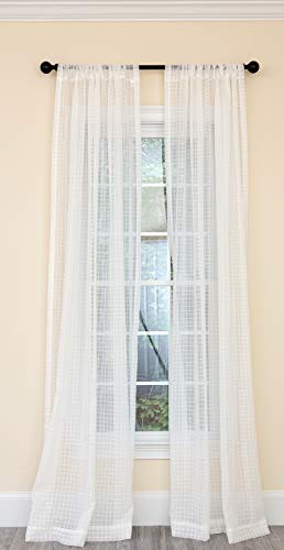 - Manor Luxe Isa Plaid Curtain,Panel,Drapes, 52''x120'', White