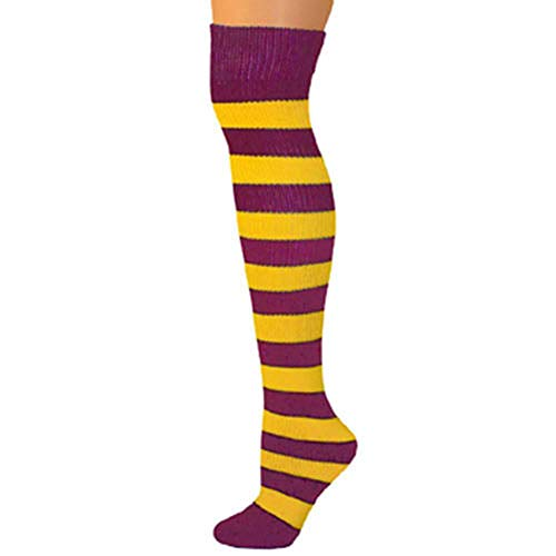 AJs Knee High Striped Socks - Gold Yellow/Maroon]()