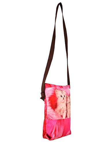 Indiano Digital Graphic Pussy Cat Viso Corpo Croce Satchel indiano Handbag - Adorabile stampa all-over - Poliestere Dupion Faux Seta - 8 x 10 x 2,5 pollici