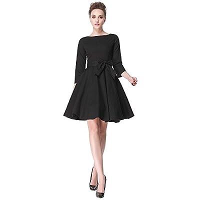 Heroecol 50s 60s Hepburn 3/4 Sleeve Style Vintage Retro Swing Rockabilly Dresses