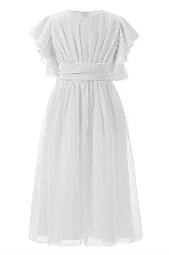 Grand America Christmas Tea Party - Fancy Chiffon Flutter Sleeves Flower Girl Dresses (Size 8, Tea Length in White)