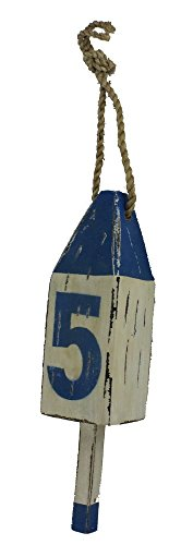 18.5''H Blue & White Distressed Hanging Lobster Buoy Decor by Nautical Tropical Imports