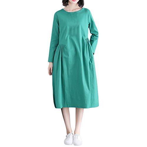 DOGZI Mujer Vestido Largo Mujer 2018 Color sólido Algodón y Lino Manga Larga Bolsillo Suelto Vestido Vestido para Playa Mujer Tallas Grande Verde