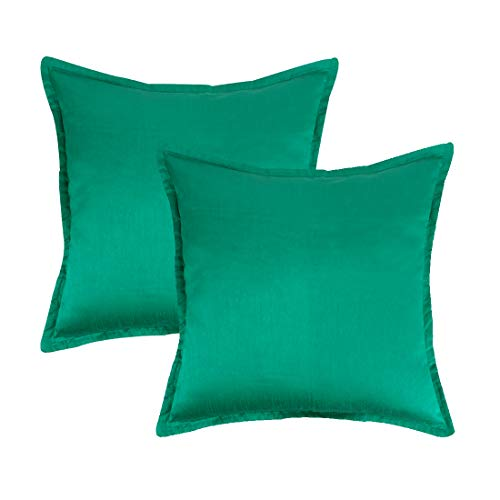 (The White Petals Set of 2 Jade Green Euro Pillow Sham Covers with Flange (26X26 inches, Solid Jade Green))