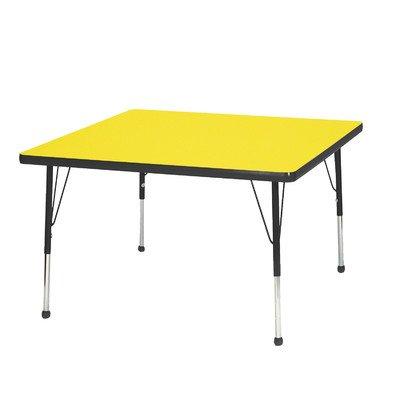"Mahar 30"" Square TableTop Color: Gray Nebula, Edge Color: Burgundy, Leg Height: Standard 21""-30"", Glide Style: Ball"
