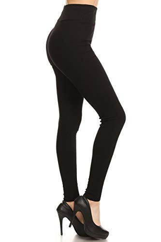 Leggings Ribbed - Leggings Depot HRL128-BLACK-L2 Ribbed Knit Jogger High Waist Track Pants, Large