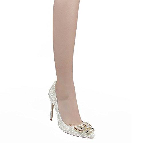 Femmes White Strass Chaussures Aiguilles Mode de Talon Talons Appliques Orteil Talons YC Mariage de fermé Chaussures L qRwIaa