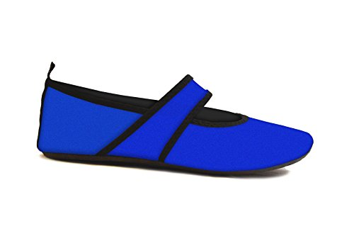 Futsole by Nufoot Women's Shoes, Best Soft Flats, Foldable & Flexible Footwear for Sport, Exercise, Yoga or Travel, Dance Shoes, Royal Blue, Large
