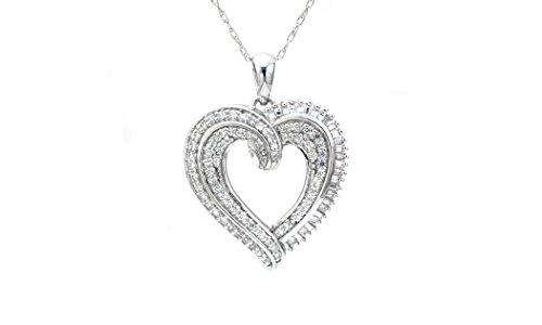 Baguette Heart Necklace - Sterling Silver Round & Baguette Diamond Swirled Design Heart Pendant (1 cttw, 18 Inches)