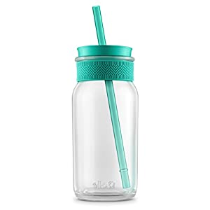 Ello Kella BPA-Free Glass Sipper with Straw, Teal, 20 oz.