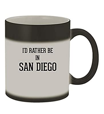 I'd Rather Be In SAN DIEGO - 11oz Color Changing Sturdy Ceramic Coffee Cup Mug, Matte Black
