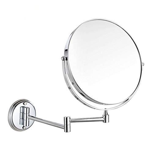 (Happy Time Bathroom Bathroom Vanity Mirror Telescopic Folding Mirror Round Bathroom Mirror Wall Mount Triple Magnification Double-Sided Mirror Household Makeup)