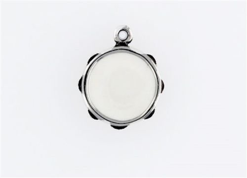 Sterling Silver Enameled Tambourine Charm - Jewelry Accessories Key Chain Bracelet Necklace Pendants