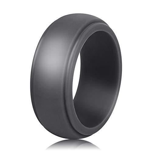 AYARUN 1 Dark Gray Ring Sleek Step Edge Silicone Wedding Band for Men Ring Size 12