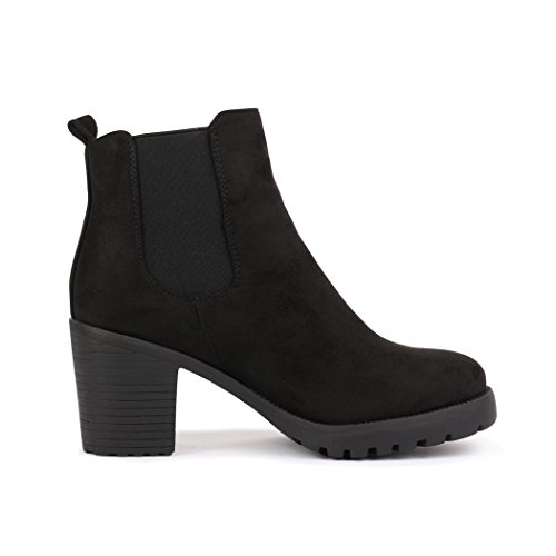 best-boots Damen Plateau Stiefelette Chelsea Boots Schwarz Samt