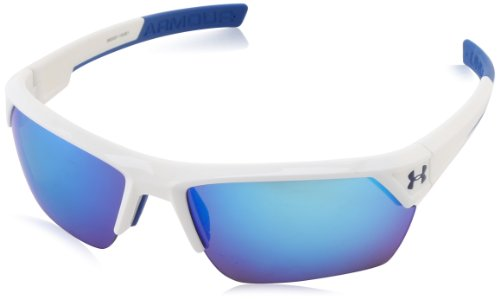 Under Armour Igniter II Shiny White Frame w/ Blue Mirror Lens Sunglasses - Re Glasses Lens