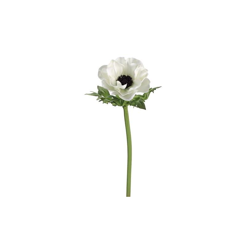 """silk flower arrangements 17"""" anemone spray w/black center cream black (pack of 12)"""