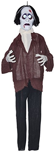 Sunstar Industries Battery Operated Creepy Zombie Animated Moving Eyes Sounds Halloween Prop Décor -