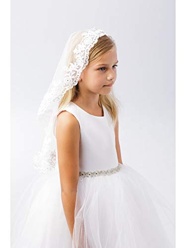 Girls White Scalloped Floral Lace Edge Mantilla Communion Flower Girl -