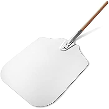 New Star Foodservice 50196 Aluminum Pizza Peel, Wooden Handle, 16 x 18 inch Blade, 36 inch overall