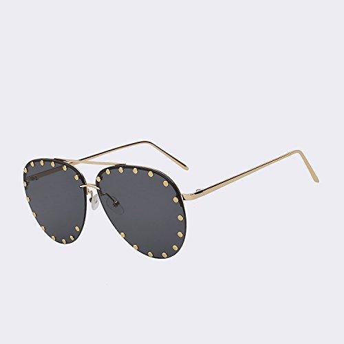 UV400 superior Diseñador la para de gafas sin calidad de cristalino de Mujer Vintage de de TIANLIANG04 mar del mujer El sol gafas reborde moda sol w black lens W gafas de Gold marca oro marrón de Oculos Owgwfq