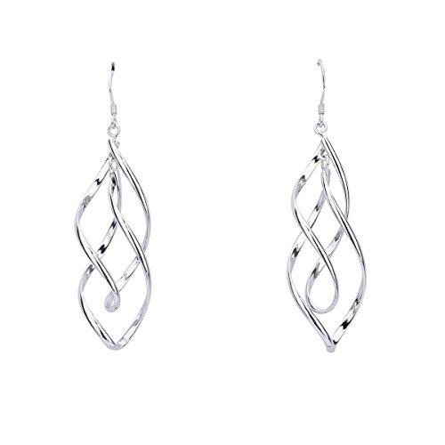 Newest trent Women 925 Sterling Silver Double Twisted Drop Earrings Dangle Ear Stud Loops Design Earring Jewellery Hook Earrings Pendant Earrings ()