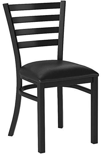Flash Furniture 4 Pk. HERCULES Series Black Ladder Back Metal Restaurant Chair - Black Vinyl Seat by Flash Furniture (Image #4)