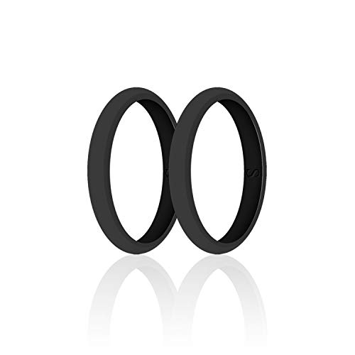 SANXIULY Womens Wedding Silicone Ring& Thin Rubber Wedding Bands for Workout and Sports Width 3mm Pack of 2 Color Black Size 8 (Promise Rings For Her 60)