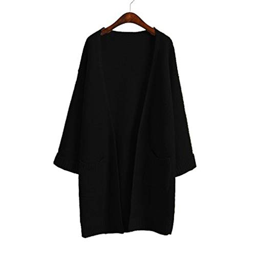 - Girl Casual Long Knitted Cardigan Autumn Korean Women Loose Pocket Design Sweater,Black S031,L